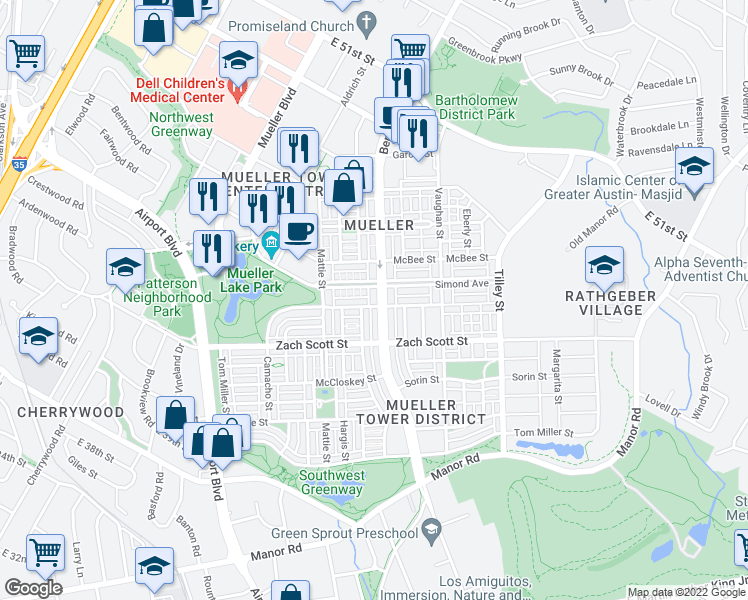map of restaurants, bars, coffee shops, grocery stores, and more near 4300 Berkman Drive in Austin