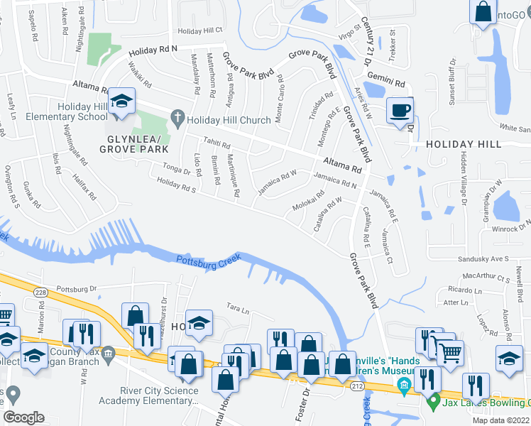 map of restaurants, bars, coffee shops, grocery stores, and more near Holiday Road South in Jacksonville