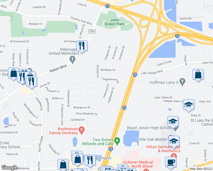 map of restaurants, bars, coffee shops, grocery stores, and more near 204 Tallwood Drive in Slidell