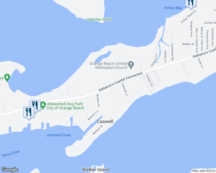 map of restaurants, bars, coffee shops, grocery stores, and more near Canal Road in Orange Beach