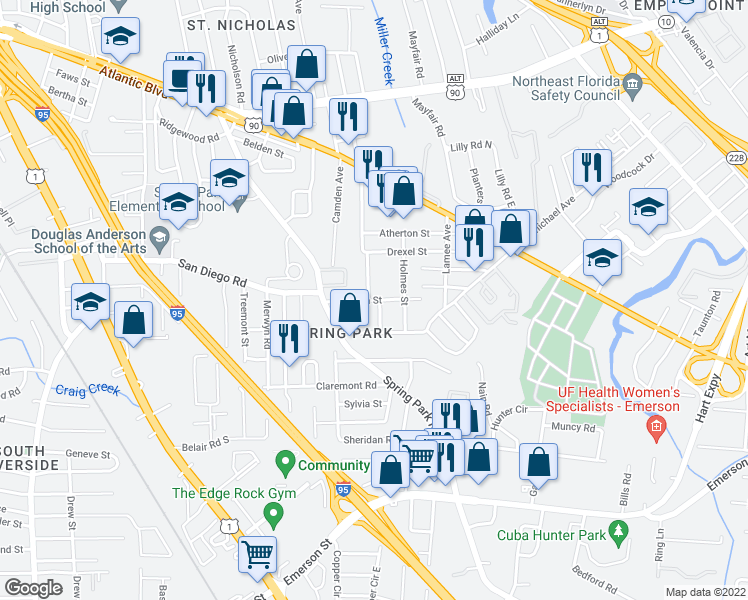 map of restaurants, bars, coffee shops, grocery stores, and more near Stillman Street in Jacksonville