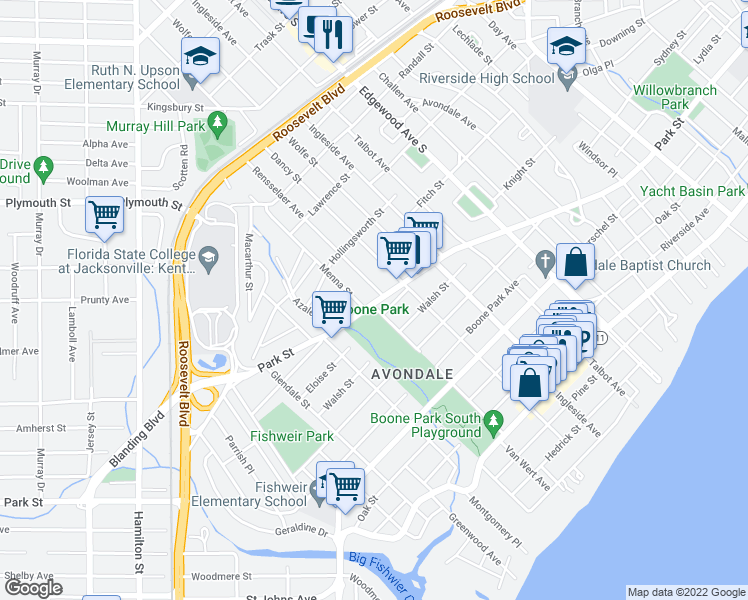 map of restaurants, bars, coffee shops, grocery stores, and more near 3711 Park Street in Jacksonville