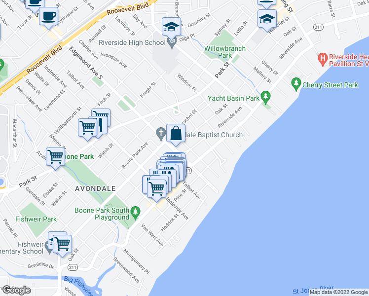 map of restaurants, bars, coffee shops, grocery stores, and more near 3405 Riverside Avenue in Jacksonville
