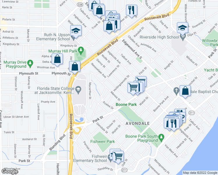map of restaurants, bars, coffee shops, grocery stores, and more near 1337 Menna Street in Jacksonville