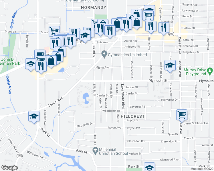 map of restaurants, bars, coffee shops, grocery stores, and more near 1211 Neva Street in Jacksonville