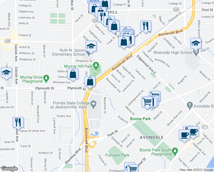 Map Jacksonville Florida.1255 Cook Street Jacksonville Fl Walk Score