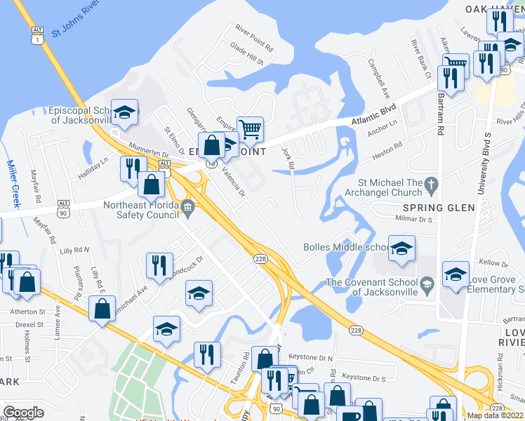 map of restaurants, bars, coffee shops, grocery stores, and more near 1847 Valencia Drive in Jacksonville