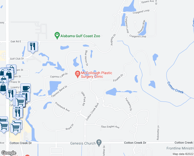 map of restaurants, bars, coffee shops, grocery stores, and more near 608 Estates Drive in Gulf Shores
