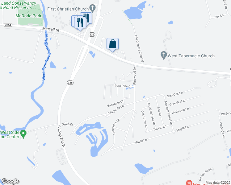 map of restaurants, bars, coffee shops, grocery stores, and more near 306 Lazy Pine Court in Conroe