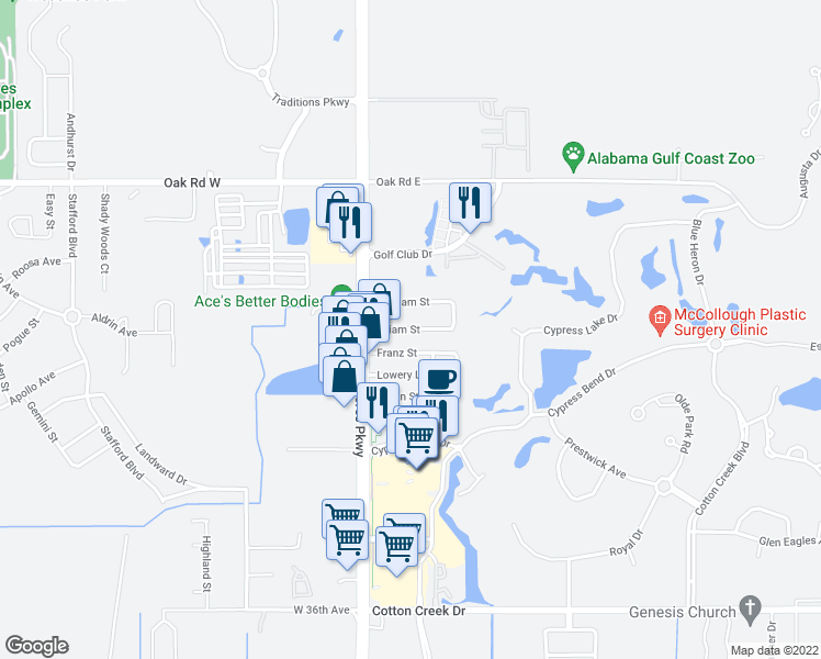 map of restaurants, bars, coffee shops, grocery stores, and more near William Street in Gulf Shores