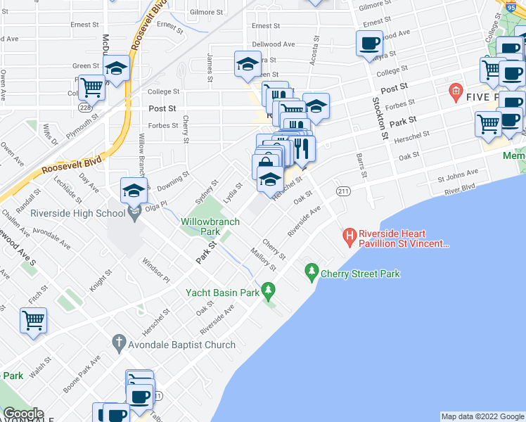map of restaurants, bars, coffee shops, grocery stores, and more near 2822 Herschel Street in Jacksonville