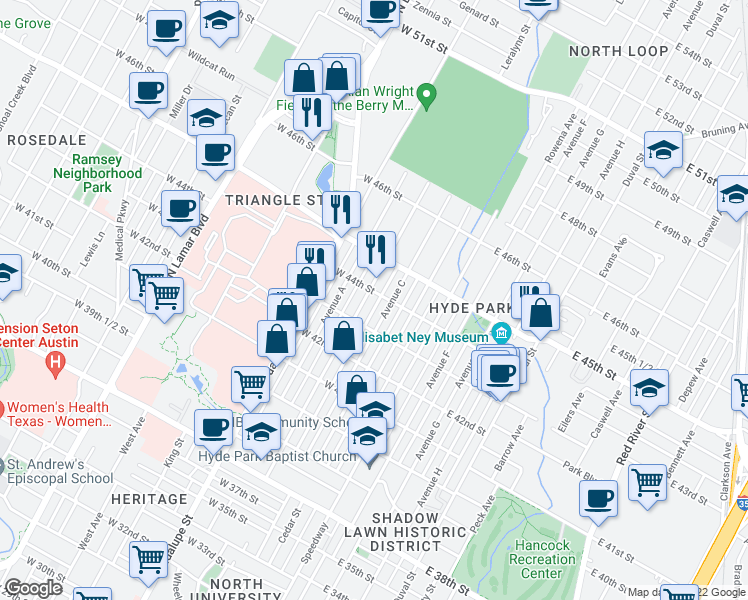 map of restaurants, bars, coffee shops, grocery stores, and more near 4313 Avenue B in Austin