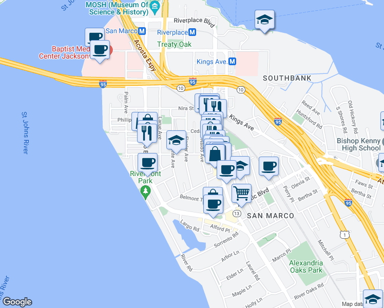 map of restaurants, bars, coffee shops, grocery stores, and more near 1317 Lasalle Street in Jacksonville
