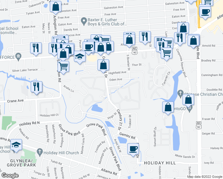 map of restaurants, bars, coffee shops, grocery stores, and more near 400 Century 21 Drive in Jacksonville