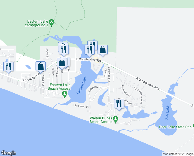map of restaurants, bars, coffee shops, grocery stores, and more near 120 Shannon Drive in Santa Rosa Beach