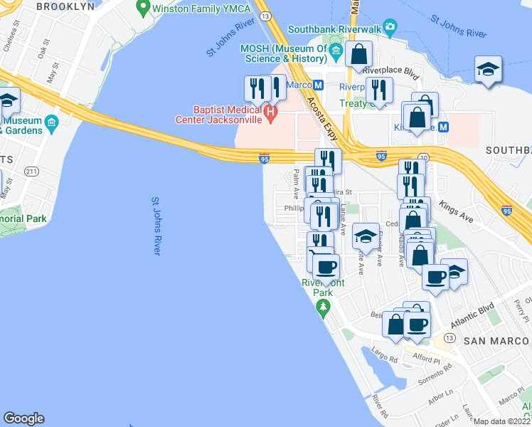 map of restaurants, bars, coffee shops, grocery stores, and more near 1541 Le Baron Avenue in Jacksonville