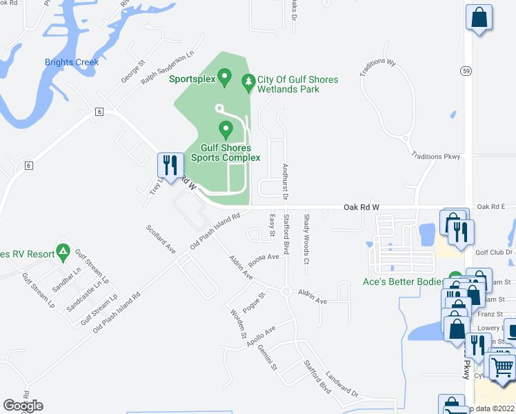 map of restaurants, bars, coffee shops, grocery stores, and more near 20080 Oak Road in Gulf Shores
