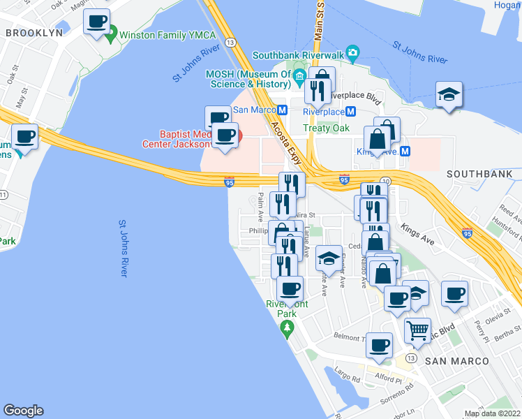map of restaurants, bars, coffee shops, grocery stores, and more near Palm Avenue in Jacksonville