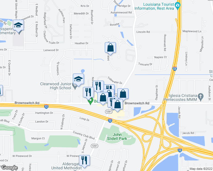 map of restaurants, bars, coffee shops, grocery stores, and more near 3400 Pelican Pointe Drive in Slidell