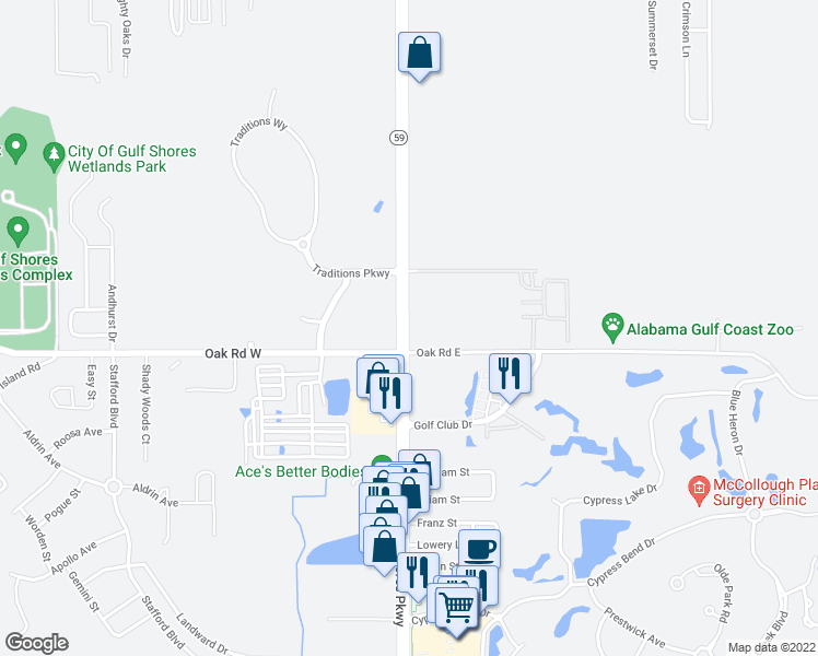 map of restaurants, bars, coffee shops, grocery stores, and more near 6194 Highway 59 in Gulf Shores