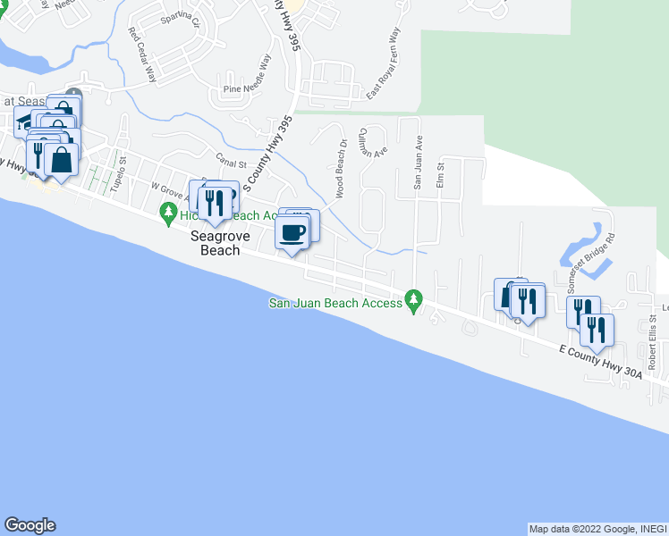 map of restaurants, bars, coffee shops, grocery stores, and more near 15 North Greenwood Avenue in Santa Rosa Beach