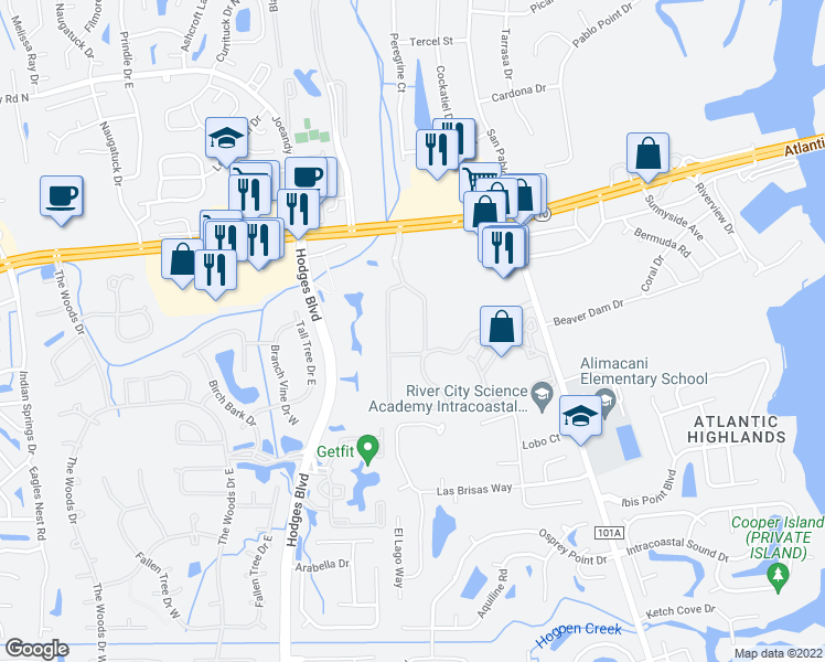 map of restaurants, bars, coffee shops, grocery stores, and more near 13300 Atlantic Boulevard in Jacksonville