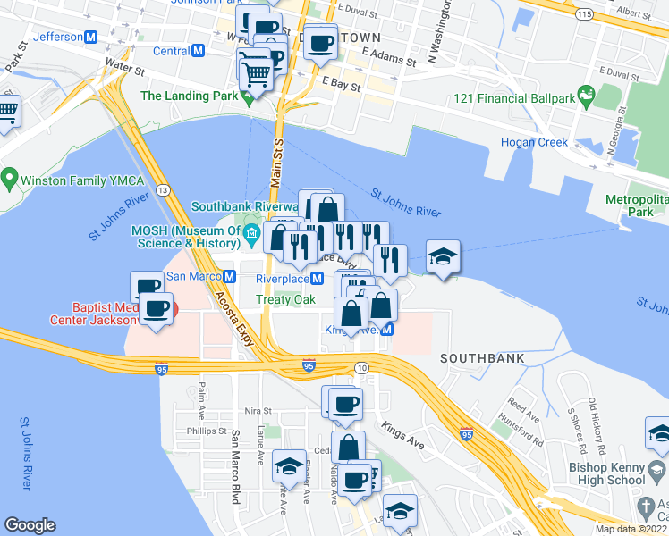 map of restaurants, bars, coffee shops, grocery stores, and more near 1478 Riverpla