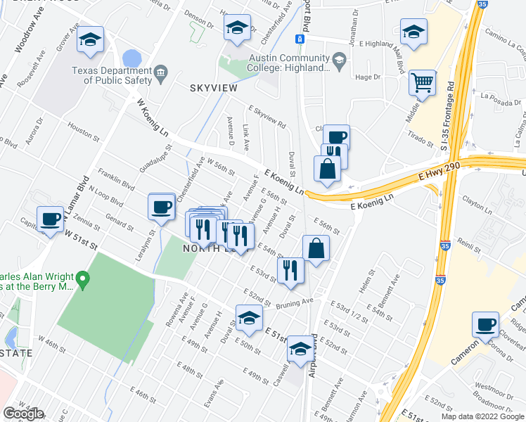 map of restaurants, bars, coffee shops, grocery stores, and more near 5505 Avenue G in Austin