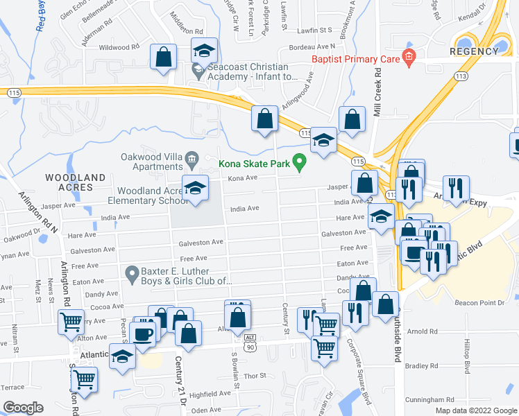 map of restaurants, bars, coffee shops, grocery stores, and more near 8620 India Avenue in Jacksonville