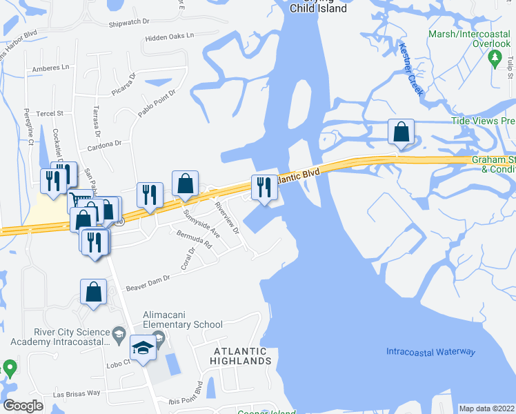 map of restaurants, bars, coffee shops, grocery stores, and more near 14030 Atlantic Boulevard in Jacksonville