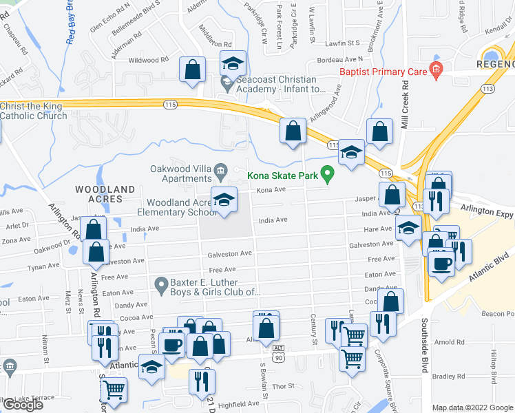 map of restaurants, bars, coffee shops, grocery stores, and more near 400-434 North Bowlan Street in Jacksonville