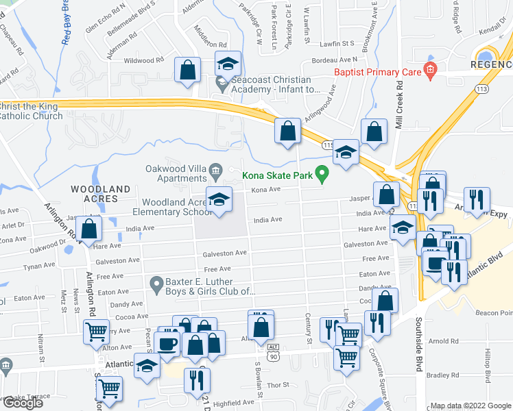 map of restaurants, bars, coffee shops, grocery stores, and more near 8455 Jasper Avenue in Jacksonville