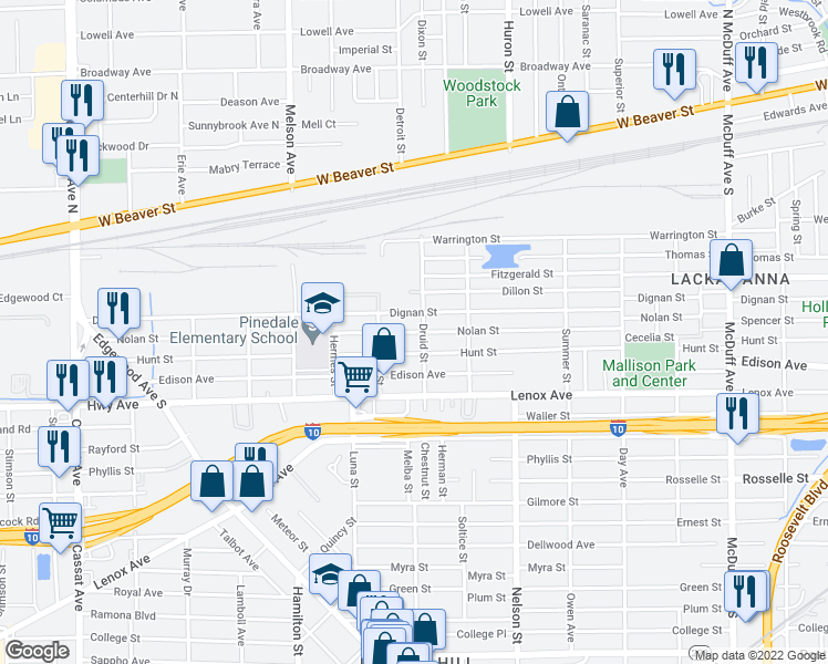 map of restaurants, bars, coffee shops, grocery stores, and more near Nolan Street in Jacksonville
