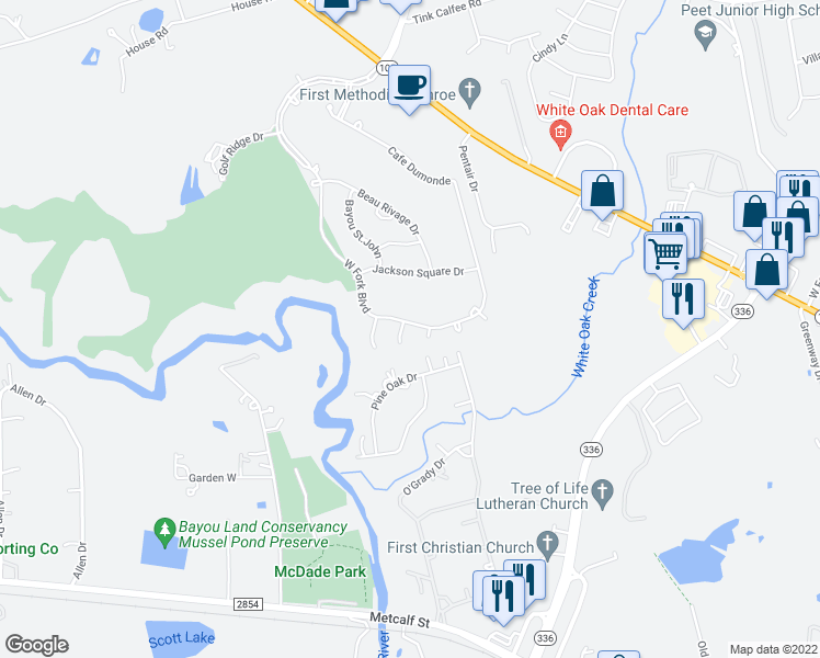 map of restaurants, bars, coffee shops, grocery stores, and more near 9 Dumaine Court in Conroe