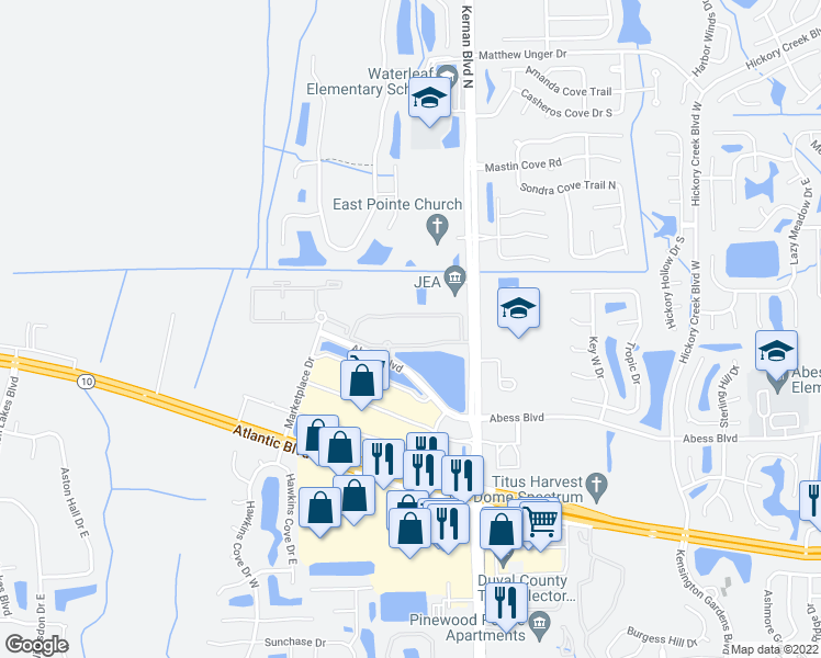 map of restaurants, bars, coffee shops, grocery stores, and more near 12001 Abess Boulevard in Jacksonville