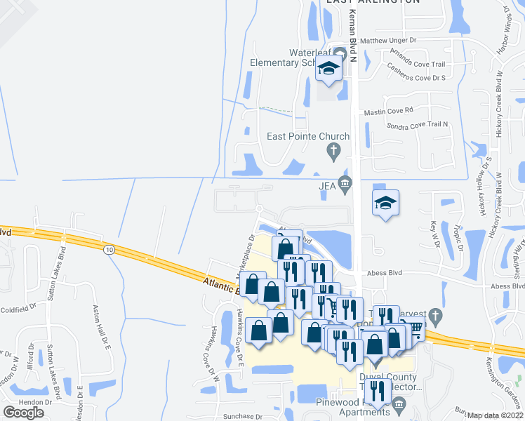 map of restaurants, bars, coffee shops, grocery stores, and more near 11901 Abess Boulevard in Jacksonville