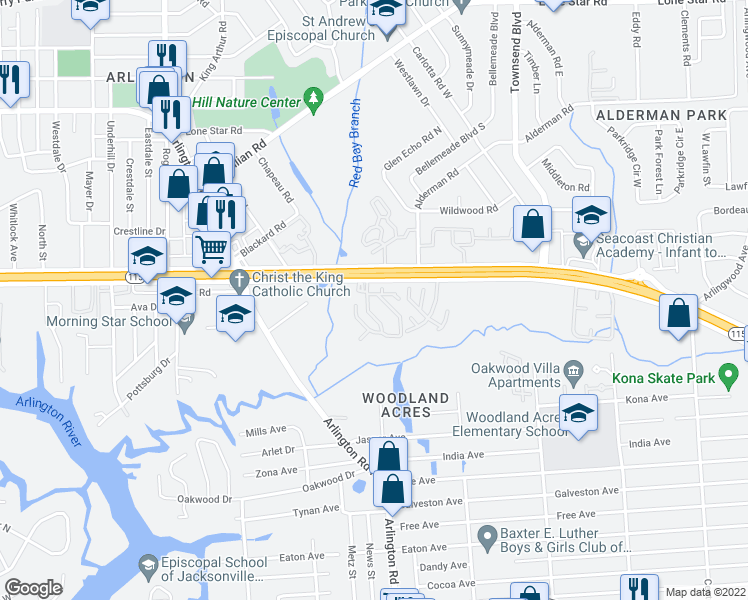 map of restaurants, bars, coffee shops, grocery stores, and more near 7528 Arlington Expressway in Jacksonville