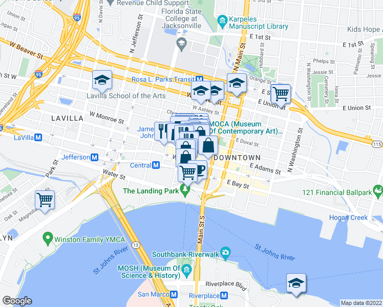 map of restaurants, bars, coffee shops, grocery stores, and more near 112 West Adams Street in Jacksonville