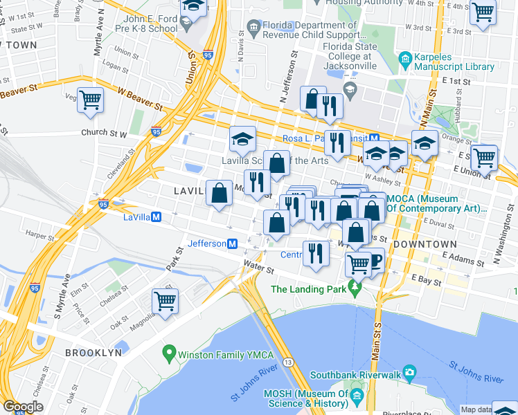map of restaurants, bars, coffee shops, grocery stores, and more near 139 North Jefferson Street in Jacksonville