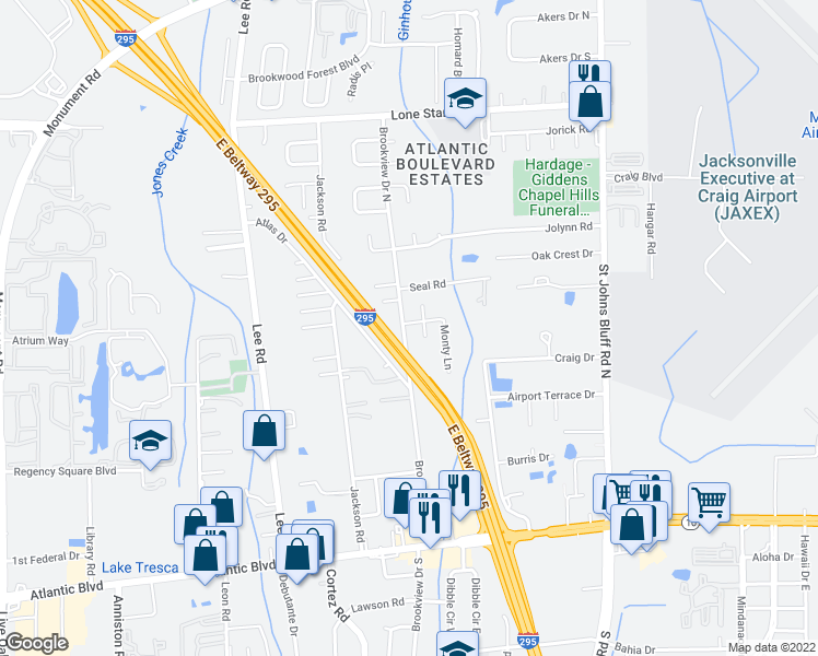 map of restaurants, bars, coffee shops, grocery stores, and more near 583 Brookview Drive North in Jacksonville