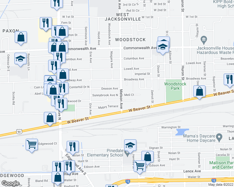 map of restaurants, bars, coffee shops, grocery stores, and more near 3217 Sunnybrook Avenue North in Jacksonville