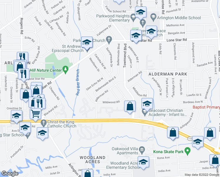 map of restaurants, bars, coffee shops, grocery stores, and more near Alderman Rd in Jacksonville