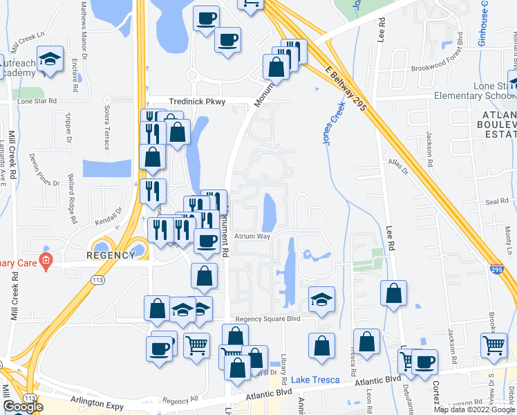 map of restaurants, bars, coffee shops, grocery stores, and more near 14 445-6 Regency Square Ap in Jacksonville
