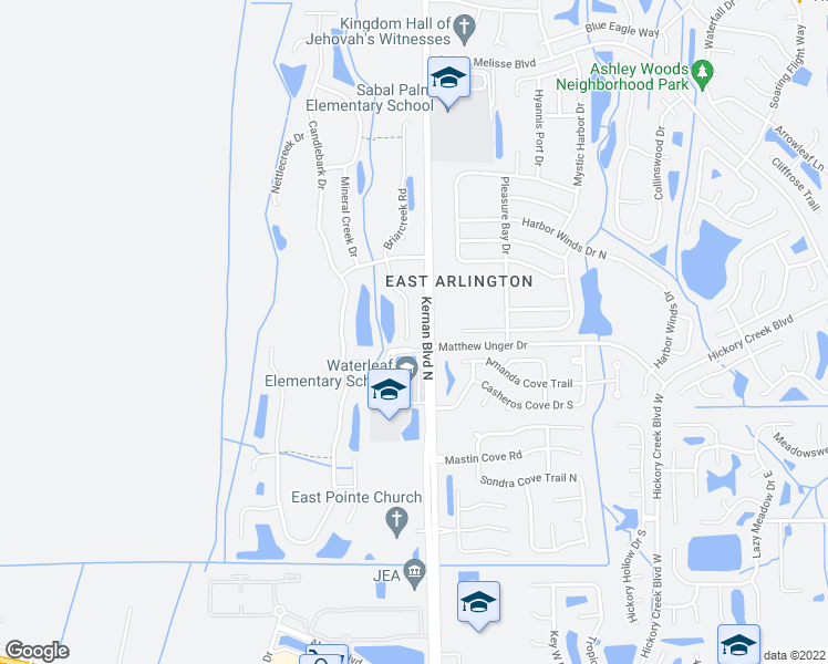map of restaurants, bars, coffee shops, grocery stores, and more near 759 Briarcreek Road in Jacksonville