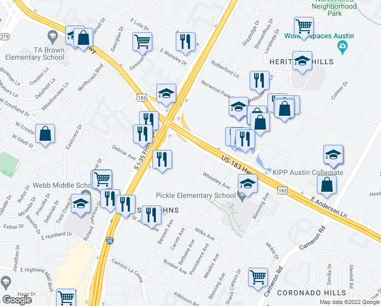 map of restaurants, bars, coffee shops, grocery stores, and more near 7625 N I H 35 in Austin