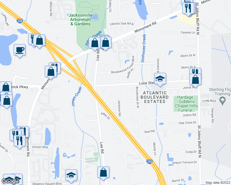 map of restaurants, bars, coffee shops, grocery stores, and more near 10172 Geni Hill Circle North in Jacksonville