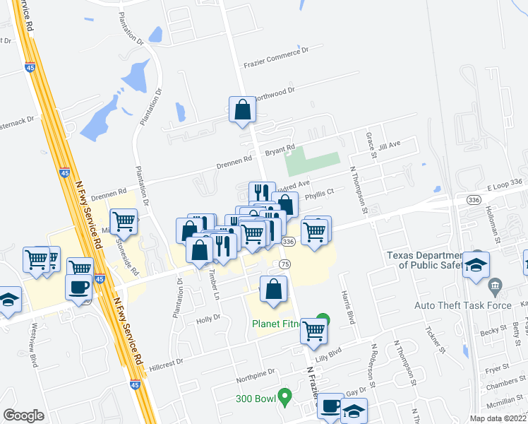 map of restaurants, bars, coffee shops, grocery stores, and more near 2213 North Frazier Street in Conroe
