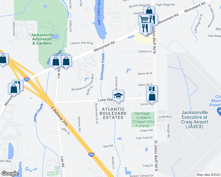 map of restaurants, bars, coffee shops, grocery stores, and more near Creeks Ridge Road in Jacksonville