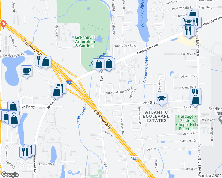 map of restaurants, bars, coffee shops, grocery stores, and more near 1191 Romaine Circle East in Jacksonville
