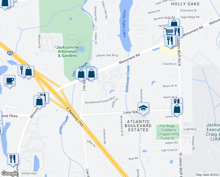 map of restaurants, bars, coffee shops, grocery stores, and more near 1250 Brookwood Forest Boulevard in Jacksonville